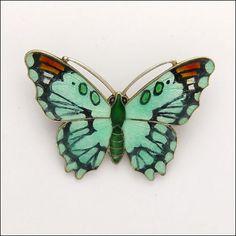 English Art Deco Large Silver Enamel Butterfly Ja S   eBay