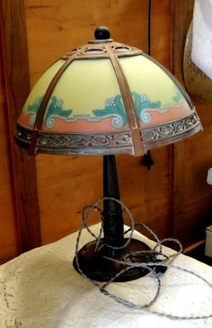 Vintage Copper/Brass Metal Body Colorfull Slag Glass Lamp w Curved Glass Shade
