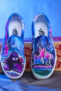 6bcd7ae23138a Fortnite LIMITED EDITION Van shoes. Hand Painted and airbrushed fortnite  gamer custom designed shoes.