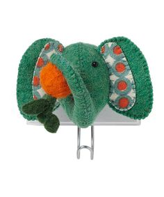 Love this Green Elephant Head & Apple Hook by Fiona Walker England on #zulily! #zulilyfinds