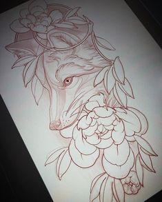 Wolf Tattoos, Animal Tattoos, Body Art Tattoos, Sleeve Tattoos, Fox Tattoo Design, Sketch Tattoo Design, Tattoo Sketches, Tattoo Drawings, Tattoo Illustration