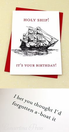 Holy Ship it's Your Birthday - funny birthday card for sailors and boaters