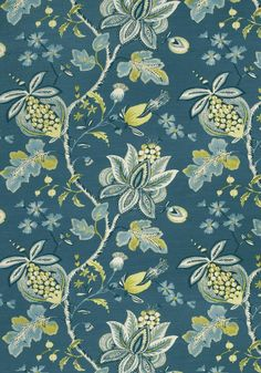 Hallway Colours, Fabric Combinations, Motif Floral, Donegal, Peacock Blue, Blue Design, Decoration, Printing On Fabric, Vines
