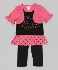 Look at this #zulilyfind! Pink Faux Cardigan Rhinestone Top & Leggings - Toddler & Girls #zulilyfinds