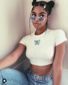 Colorful Butterfly Embroidered Ribbed Cotton Tank Top Crop Top Black Girl Aesthetic, Aesthetic Hair, Aesthetic Clothes, Aesthetic Shirts, Aesthetic Style, Peach Aesthetic, Aesthetic Makeup, Aesthetic Vintage, Baddie Hairstyles