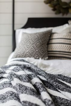 Carefully Crafted Magnolia Home By Joanna Gaines Pillows And Throw Blankets In A Timeless Black