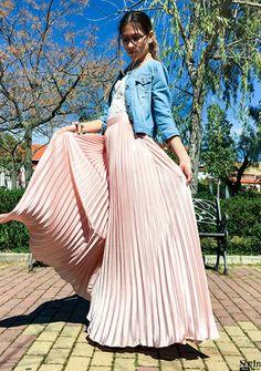 plissierter Maxirock-rosa Stilgalerie