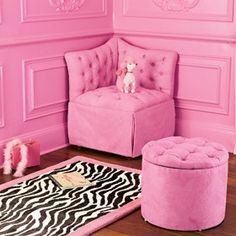 pink room! (love this shade of pink for an accent wall in one of my kids rooms)