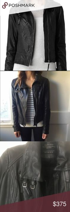 All Saints Belvedere Leather Jacket All Saints Belvedere black leather jacket, size 2,  a bit small. Excellent condition, no flaws to report.  Worn only 4 times. Beautiful jacket!! All Saints Jackets & Coats