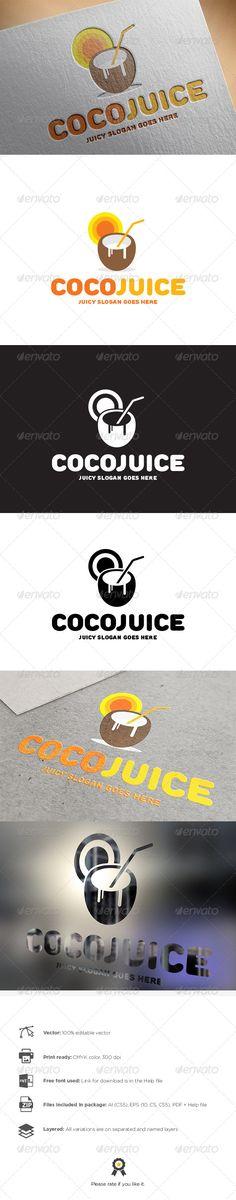 Coco Juice Logo ...  beach, caffe bar, club, coco, coconut, colors, disco, drink, food, fun, juice, ocean, orange, party, summer, sun, tan, white