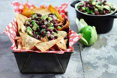Healthy Super Bowl snacks: Black Bean-Avocado Salsa w/Home-Baked Tortilla Chips