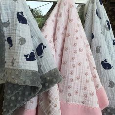 whales and butterflies for babies! Shop samples- Self binding baby blankets @prairiepointquiltandfabricshop - in Embrace® double gauze with Cuddle® 3 and Cuddle® Dimple too!