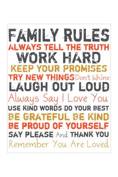 Family Rules Orange Giclee on Canvas