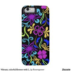 Vibrant, colorful flowers with leaves and swirls iPhone 6 case