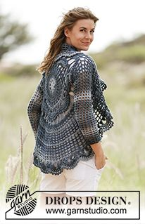 "Evening Tide - Crochet DROPS jacket worked in a circle in ""Big Delight"". Size S-XXXL. - Free pattern by DROPS Design"