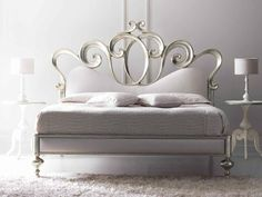 Double bed with upholstered headboard SOFIA - CorteZari: Melange silver leaf cat. C - fabric upholstery
