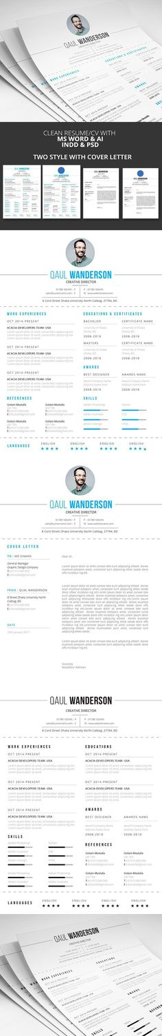 Spacious Resume / CV MS Word Resume, Words and Resume cv