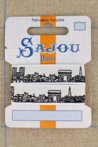 Ruban Sajou Paris motif noir fond blanc carte un mètre