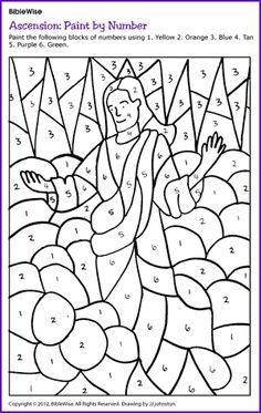 wk 27 color page Bible Wise another great extra resource :-) Paint by Number: Jesus' Ascension - Kids Korner - BibleWise Sunday School Crafts For Kids, Sunday School Activities, Church Activities, Bible Activities, Sunday School Lessons, Thanksgiving Activities, Sunday School Coloring Pages, Children's Church Crafts, Bible Coloring Pages
