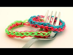 How To Make a 4-braided Rainbow Loom Bracelet on a Fork - Easy Loom Band Bracelet Tutorial - YouTube