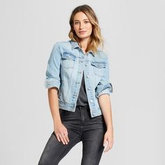9e2e7a81d80f3 Women s Freeborn Denim Jacket - Universal Thread™ Light Wash S