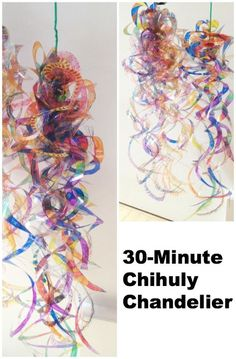 Overhead transpariences/photocopier transpariencies, color with Sharpies, cut spirals, assemble, hang! 30 minute Chihuly inspired chandelier project from art educator Jackie Hwang/ #Mingei museum