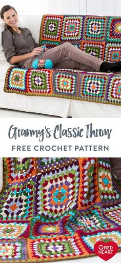Granny's Classic Throw free crochet pattern in Red Heart Soft. It's fun to crochet this classic with new yarns and an array of colors. Follow our list of colors or get creative with your own colors! It's a great way to whittle down your stash. Crochet Winter, Crochet Home, Free Crochet, Crochet Girls, Crochet Granny, Easy Knitting Patterns, Afghan Crochet Patterns, Web Patterns, Knitting Ideas