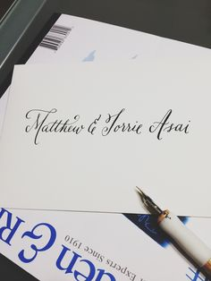"""first time #calligraphy """"job"""" addressing envelopes for a very special couple getting married ;) #mpluscwedding // to accompany @Brittany Bosworth invites and inspired by @AngeliqueInk on @Etsy"""