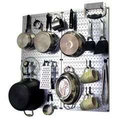 Wall Control Kitchen Pegboard 32 in. x 32 in. Metal Peg Board Pantry Organizer Kitchen Pot Rack White Pegboard and Blue Peg Hooks WBU - The Home Depot White Pegboard, Metal Pegboard, Pegboard Organization, Kitchen Organization, Kitchen Storage, Kitchen Pegboard, Organization Ideas, Garage Storage, Hang Pegboard