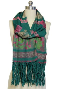 Saachi by Inthings Floral Striped Wool Blend Scarf in Green - Beyond the Rack