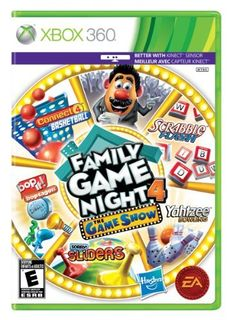 Family Game Night 4: The Game Show - Xbox 360 (014633196085) Five games to play, including Connect 4 Basketball, Yahtzee! Bowling, Scrabble Flash, Bop It Boptagon, and Sorry! Sliders Win Monopoly Crazy Cash after each game Optional Kinect sensor for Xbox 360 support adds a whole new level of play Connect and play with your family with 2-person multiplayer Import Xbox LIVE avatars into the game to crank up the fun and competition and earn Xbox LIVE achievements to raise your gamer score 5 ...
