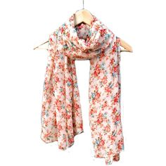Pastel Floral Scarf, Cream Sheer Wrap with Blue Pink Light Brown... ($18) ❤ liked on Polyvore featuring accessories, scarves, floral shawl, chiffon shawl, sheer scarves, cream shawl and flower scarves