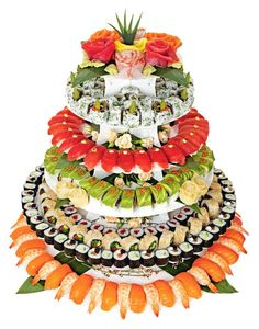 Here is a sushi wedding cake.