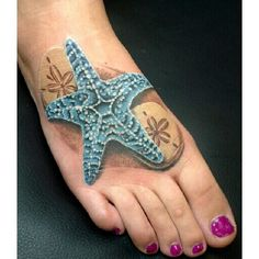 What does starfish tattoo mean? We have starfish tattoo ideas, designs, symbolism and we explain the meaning behind the tattoo. Star Tattoos, Foot Tattoos, Body Art Tattoos, Tatoos, Thigh Tattoos, Anchor Tattoos, Wrist Tattoos, Sleeve Tattoos, Seashell Tattoos