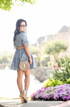 cute & little blog | petite fashion | blue gingham dress, yellow knotted belt, nude wedges, motty grey chloe drew, statement earrings | spring summer outfit