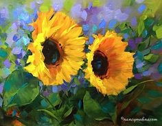 Violet Spotlight Sunflowers and a New Painting Video - Flower Paintings by Nancy Medina Art, painting by artist Nancy Medina