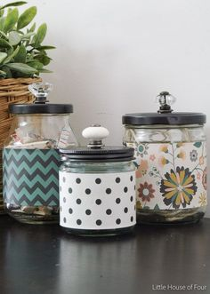 Turn ordinary recycled glass jars into the perfect stylish storage. ~ http://Littlehouseoffour.com
