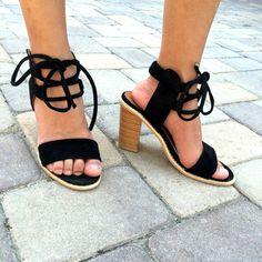 Lace-up suede heels from Aliexpress.   #bargainshopping #aliexpress #womensshoes #trendyshoes #shoeaddict #shoeporn #chunkyheels #suede