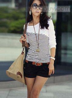 Estilo Coreanos Camiseta con Rayas