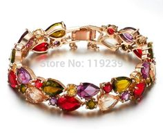 GB1 Mona Lisa Bracelets & Bangles Fashion Rose Gold Color Colorful AAA Cubic Zirconia Item Retro Vintage Women Jewellery Bijoux