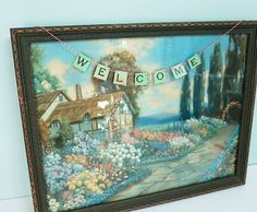 Hang this Welcome message banner wherever you want a spot of color and whimsy… perfect to place across a picture, in your guest room, on your front door,