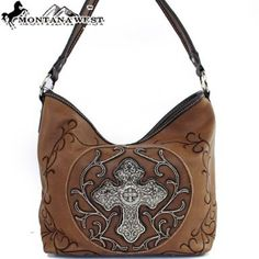 Click Here and Buy it On Amazon.com $45.99 Amazon.com: Montana West Western Rhinestone Gemstone Studded Cross Floral Embroidered Tote Satchel Hobo Handbag Purse in Brown: Clothing