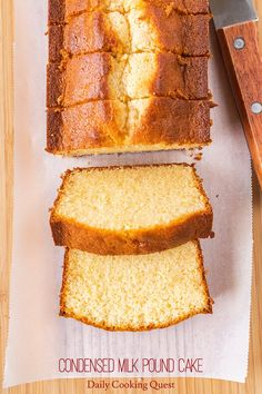 Sweetened Condensed Milk Pound Cake Recipe, Condensed Milk Desserts, Condensed Milk Cookies, Cake Mix Recipes, Pound Cake Recipes, Pound Cakes, Indian Dessert Recipes, Just Cakes, Coffee Cake