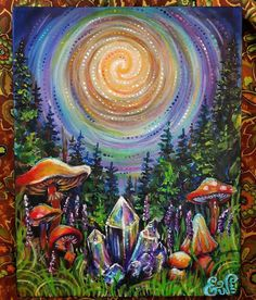 Best ideas for diy art projects on canvas pictures Trippy Painting, Painting & Drawing, Arte Inspo, Mushroom Art, Hippie Art, Wow Art, Psychedelic Art, Painting Inspiration, Amazing Art