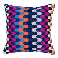 Jonathan Adler Puzzle Pink/Blue Bargello Pillow from @Zinc_door