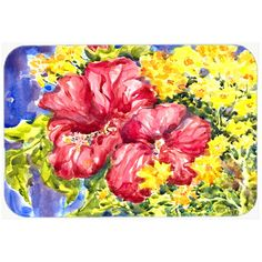 "Caroline's Treasures Flower Hibiscus Kitchen/Bath Mat Size: 24"" H x 36"" W x 0.25"" D"