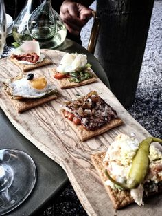 A selection of Pinchos (small Tapa served on bread) at Ibérica La Terraza, Cabot Square London Guide, Al Fresco Dining, Street Food, Tapas, Food Photography, Bread, Cheese, Breakfast, Drink