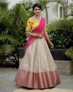 10 Wedding Day Pattu Half Saree Designs for South Indian Brides – Bharti – 10 We… Lehenga Saree Design, Half Saree Lehenga, Lehenga Designs, Saree Dress, Anarkali, Banarasi Lehenga, Lehenga Gown, Lehenga Blouse, Churidar