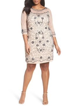 Pisarro Nights Illusion Neck Beaded Shift Dress (Plus Size) available at #Nordstrom