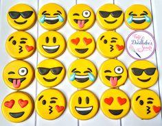 emoji cookies, royal icing, decorated sugar cookies